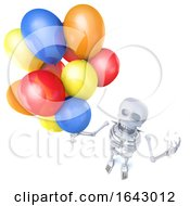 3d Funny Cartoon Skeleton Holding Lots Of Colourful Balloons