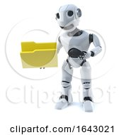 3d Robot Holding A Yellow Folder