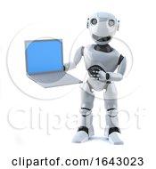 3d Robot Holding A Laptop