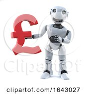 3d Robot Holding A UK Pounds Sterling Currency Symbol