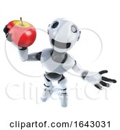 3d Funny Cartoon Robot Holding A Juicy Red Apple