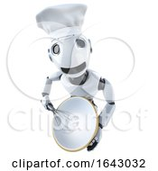 3d Funny Cartoon Mechanical Robot Character Baking A Cake In A Chefs Hat