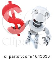 3d Funny Cartoon Mechanical Robot Character Holding A US Dollar Currency Symbol