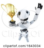 3d Funny Cartoon Robot Character Holding A Gold Cup Trophy Award