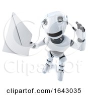3d Funny Cartoon Robot Character Holding An Email Message Envelope