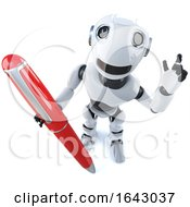 3d Funny Cartoon Robot Character Holding A Red Pen