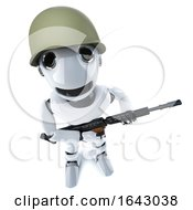 3d Funny Cartoon Robot Character Dressed As A Soldier Holding A Gun