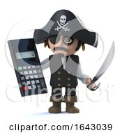 3d Cute Pirate Captain Does The Math With A Calculator