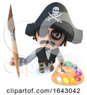 3d Funny Cartoon Pirate Captain Character Holding A Paint Brush And Palette