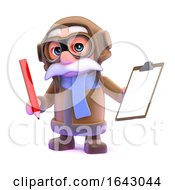 3d Pilot With A Clipboard And Pencil