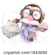 3d Funny Cartoon Airline Pilot Character Holding A Shopping Basket