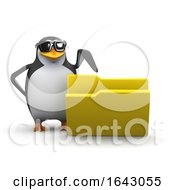 3d Penguin Points To Open Folder