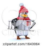 3d Winter Penguin Brings His Ladder