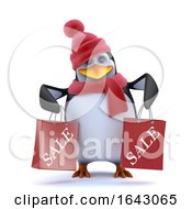 3d Christmas Penguin Has Been To The Sales