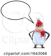 3d Winter Penguin Has A Speech Bubble