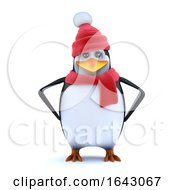 3d Winter Penguin Has Attitude