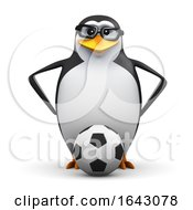 3d Penguin Student Football Player