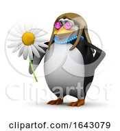 3d Hippy Penguin Flower Child