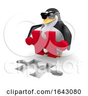 3d Penguin With A Puzzle Piece by Steve Young