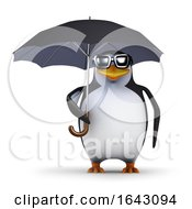 3d Penguin Under Umbrella
