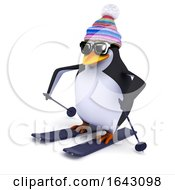 3d Penguin Goes Skiing
