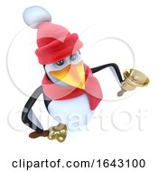 3d Funny Cartoon Penguin Dressed For Winter And Ringing Bells