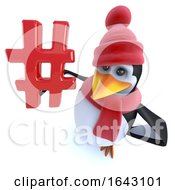 3d Funny Cartoon Penguin Dressed For Winter And Holding A Hashtag Symbol
