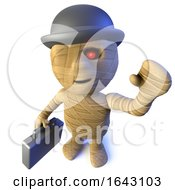 3d Funny Cartoon Egyptian Mummy Character Wearing A Bowler And Carrying A Briefcase by Steve Young
