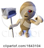 3d Funny Cartoon Egyptian Mummy Character Holding A Broom by Steve Young