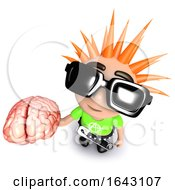 3d Funny Cartoon Punk Rocker Kid Character Holding A Human Brain by Steve Young