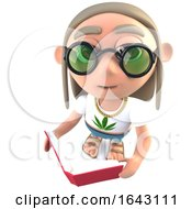 Poster, Art Print Of 3d Funny Cartoon Hippy Stoner Character Reading A Book