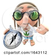 3d Funny Cartoon Hippy Stoner Character Holding A Compass