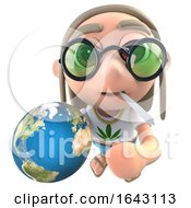 3d Funny Cartoon Hippy Stoner Character Holding A Globe Of The Earth
