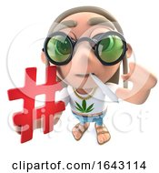 3d Funny Cartoon Hippy Stoner Character Holding A Hash Tag Symbol by Steve Young