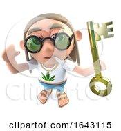 Poster, Art Print Of 3d Funny Cartoon Hippy Stoner Character Holding A Gold Key Symbolising Success