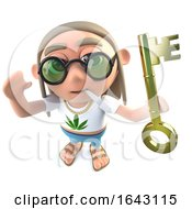3d Funny Cartoon Hippy Stoner Character Holding A Gold Key Symbolising Success