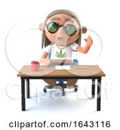 3d Hippie Stoner Sits At His Desk And Waves