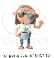 Poster, Art Print Of 3d Hippie Stoner Has A Nice Cup Of Coffee