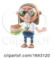 Poster, Art Print Of 3d Hippy Stoner Eating A Burger