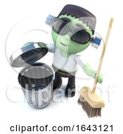 3d Halloween Frankenstein Monster Cleaning Up With A Broom by Steve Young
