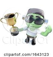 3d Halloween Frankenstein Monster Holding A Gold Cup Trophy Award Prize