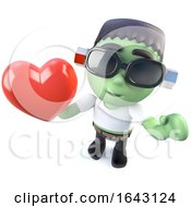 3d Frankenstein Monster Character Holding A Red Heart by Steve Young