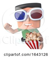 3d Funny Cartoon Nerd Geek Hacker Character Watching A 3d Movie Eating Popcorn