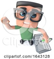 3d Funny Cartoon Nerd Geek Hacker Character Holding A Shopping Basket by Steve Young