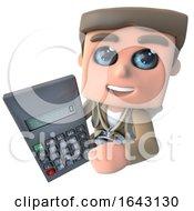 3d Funny Cartoon Explorer Adventurer Holding A Digital Calculator