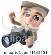 3d Funny Cartoon Hiker Adventurer Character Taking A Photo With A Camera