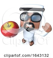3d Funny Cartoon Arab Sheik Character Holding An Organic Apple Fruit