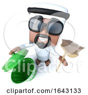 3d Funny Cartoon Arab Sheik Character Cleaning With A Broom And Trash Can