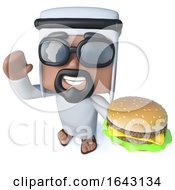 3d Funny Cartoon Arab Sheik Character Holding A Cheeseburger Snack