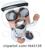 3d Funny Cartoon Arab Sheik Character Drinking A Cup Of Coffee